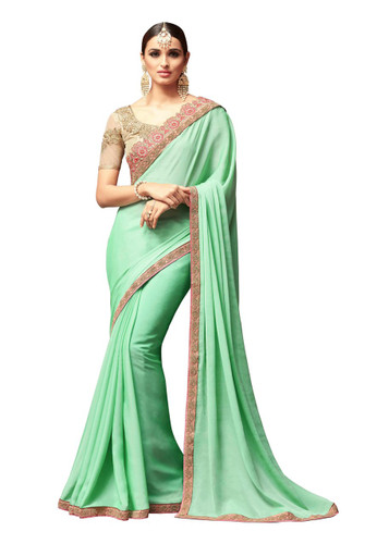 Attractive & Vibrant Green Colored Super Silk Georgette Saree