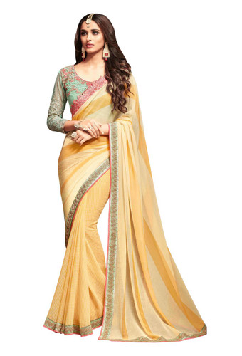Attractive & Vibrant Yellow Colored Nightingale Chiffon Georgette Saree