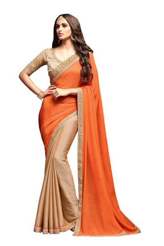 Attractive & Vibrant Orange Colored Sunshine Chiffon & Star Georgette Saree