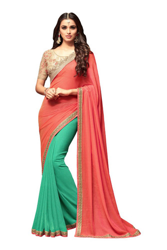 Attractive & Vibrant Peach & Green Colored Sunshine Chiffon & Star Georgette Saree