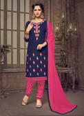 Trendy & Casual Navy Blue Colored Tery Cotton Suit