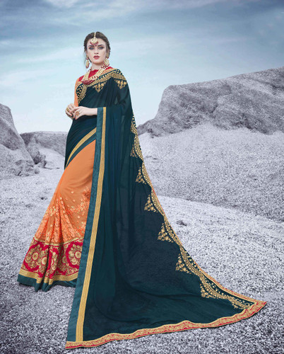 Alluring & Trendy Deep Blue & Orange Colored Georgette & Net Saree