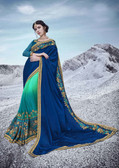 Alluring & Trendy Blue & Sky Green Colored Moss Georgette Sanasilk Saree