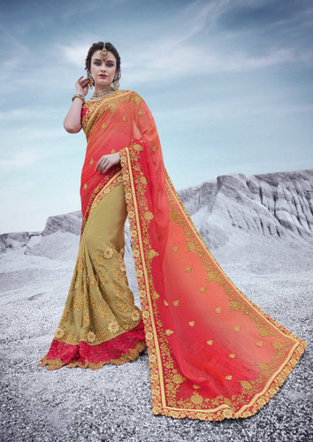 Alluring & Trendy Sky Green & Grey Colored Bamberg Georgette Saree