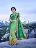 Delightfully Alluring Pista Green Colored Sana Georgette Saree