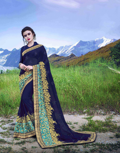 Delightfully Alluring Blue & Sky Blue Colored Georgette Saree