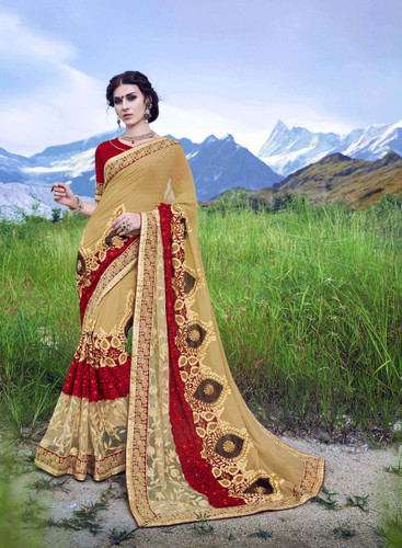 Delightfully Alluring Beige Colored Checked Marble Saree