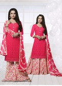 Charming & Attractive Peach Colored Georgette Designer Suit