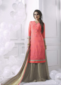 Charming & Attractive Peach Colored Georgette Premium Suit