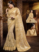 Incredibly Attractive Beige Colored Jacquard Saree