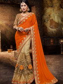 Incredibly Attractive Orange & Gold Colored Georgette and Silk Net Saree