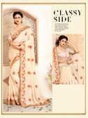 Elegant & Lively Cream Colored Crepe Silk Saree