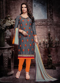 Casual & Trendy Grey Colored Cotton Designer Suit
