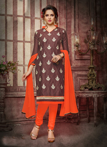 Casual & Trendy Brown Colored Cotton Suit