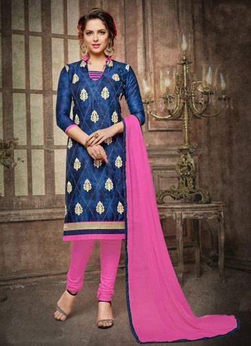 Casual & Trendy Navy Blue Colored Cotton Suit
