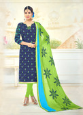 Attractive & Timeless Navy Blue Colored Poly Cotton Suit