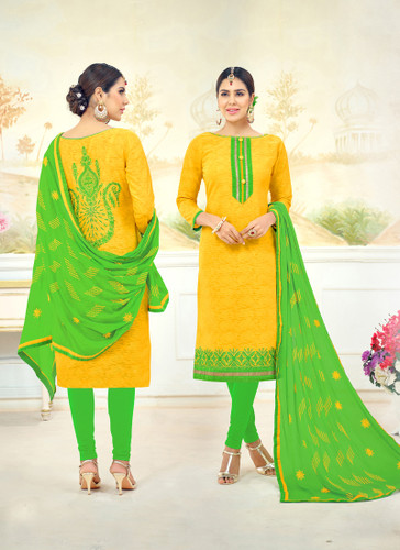 Attractive & Timeless Yellow Colored Poly Cotton Suit