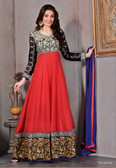 Modern Diva Red & Black color Georgette Anarkali suit