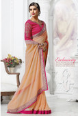 Stylish & Attractive Peach Colored Georgette Saree