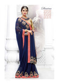 Stylish & Attractive Navy Blue Colored Georgette Designer Saree