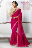 Stylish & Attractive Pink Colored Georgette Designer Saree
