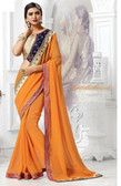 Stylish & Attractive Orange Colored Georgette Saree