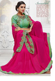 Stylish & Attractive Pink Colored Georgette Premium Saree