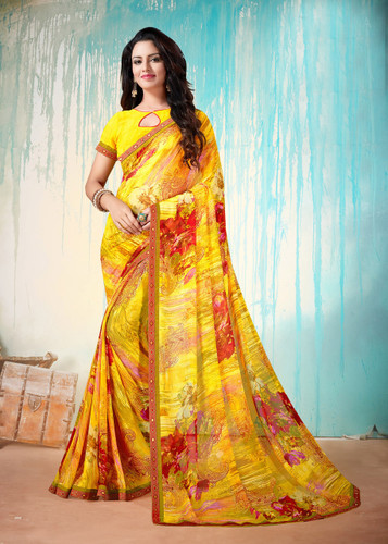 Colorful & Lively Yellow Colored Fancy Printed Georgette Border Saree
