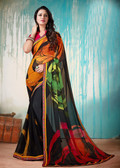 Colorful & Lively Black Colored Fancy Printed Georgette Border Saree