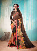 Colorful & Lively Coffee Colored Fancy Printed Georgette Border Saree