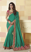 Incredibly Vibrant Teal Green Colored Silk Saree