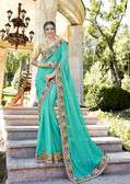 Uniquely Attractive Sky Blue Colored Georgette Saree