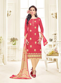 Lovely & Casual Peach Colored linen Slub Salwar Suit