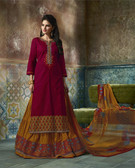 Enchanting & Lively Maroon colored Pure Cotton Printed Suit