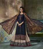 Enchanting & Lively Navy Blue colored Pure Cotton Printed Suit