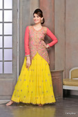Modern Diva Yellow & Peach color Georgette Anarkali Suit