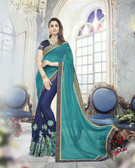 Modern & Allluring Sky Blue Colored Georgette Saree