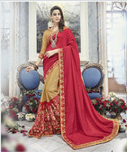 Modern & Allluring Red & Cream Colored Silk Jacquard & Georgette Saree