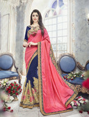 Modern & Allluring Light Pink & Blue Colored Silk Jacquard & Georgette Saree