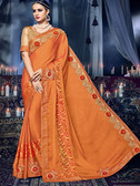 Delightfully Charming Orange Colored Moss Chiffon Saree