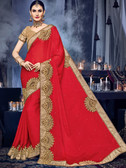 Delightfully Charming Red Colored Moss Chiffon Saree