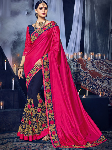 Delightfully Charming Magenta & Violet Colored Paper Silk & Georgette Saree
