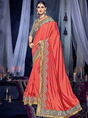 Delightfully Charming Orange Colored Two Tone Silk Saree