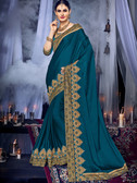 Delightfully Charming Dark Green Colored Two Tone Chiffon Saree
