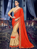 Delightfully Charming Red & Gold Colored Chinnon & Silk With Glitter Saree
