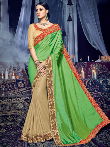 Delightfully Charming Green & Beige Colored Two Tone Silk & Glitter Georgette Saree