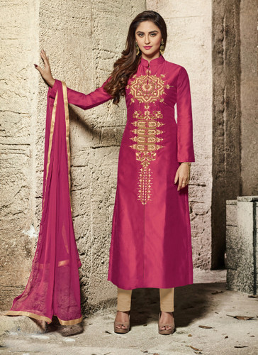 Attractive & Modern Maroon Colored Cotton Satin Suit