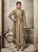 Attractive & Modern Beige Colored Cotton Satin Suit