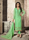 Attractive & Modern Green Colored Cotton Satin Designer Suit
