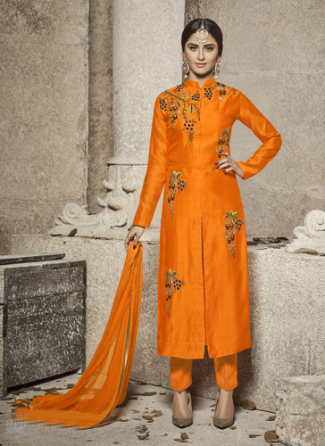 Attractive & Modern Orange Colored Cotton Satin Suit